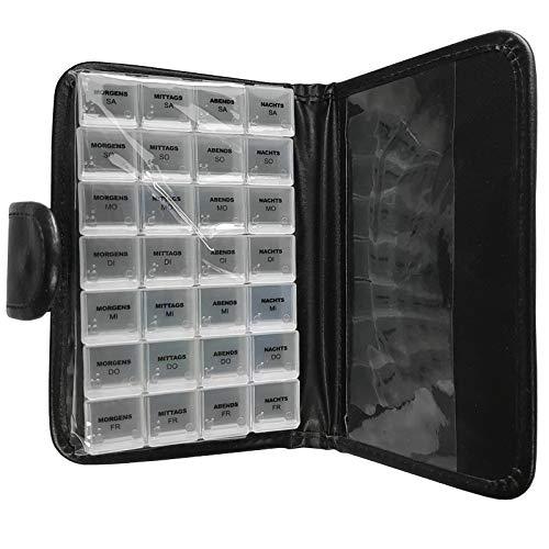Tablettenbox 7 Tage mit jeweils 4 Fächern im schwarzem Kunstleder Etui, Pillenbox zum aufbewahren von Medikamenten, Tabletten und Nahrungsergänzungen, Pillendose mit Wocheneinteilung