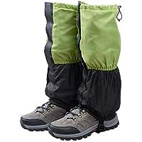 TRIWONDER Polainas Impermeable de Senderismo para piernas a Prueba de Viento Nieve Lluvia para Montaña Caza Esquí Escalada (1 Par) (Verde y Negro)