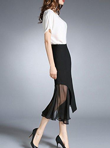 Femme Jupe Midi Pour Fille Haute Taille Pure Slim Longueur Coupe En Vrac Jupe Casual Noir