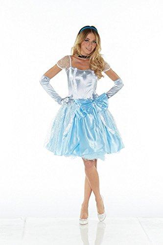 DELUXE Kostüm CINDERELLA KURZ Prinzessin, Größe:S/M (Cinderella Deluxe Kleid)