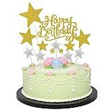 Allazone Cake Topper Compleanno Decorazione per Torte e Cupcake Oro e Argento, 1 Pz Oro Buon Compleanno Torta Topper e 12 Pz Stelle Happy Birthday Cake Topper