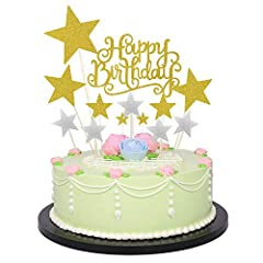 Idea Regalo - Allazone Cake Topper Compleanno Decorazione per Torte e Cupcake Oro e Argento, 1 Pz Oro Buon Compleanno Torta Topper e 12 Pz Stelle Happy Birthday Cake Topper