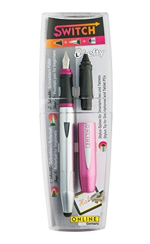 Online 25037Juego de texto Switch, Two in One, pluma estilográfica L y boquilla para bolígrafo, color rosa