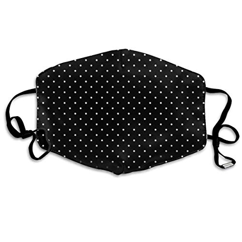 Daawqee Staubschutzmasken, Mini Polka Dots in Black and White Anti Dust Face Mouth Cover Mask Respirator Cotton Protective Breath Healthy Safety Warm Windproof Mask Mini Black Dust