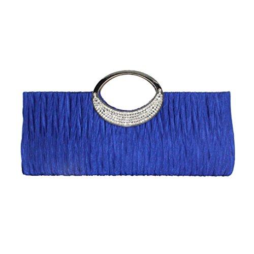 Moda Bolsos para Mujer, WINWINTOM Casual Bolsos de Totes Mano, Dama Mujer Elegante Noche Boda Bolso Embrague Diamante de Imitación Satín Plisado Bolsos (Azul)