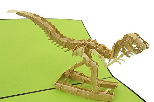 PopLife Cards T-Rex Velociraptor Dinosaurier Vatertag Popup-Karte, alle Gelegenheiten Vatertag, alles Gute zum Geburtstag, Abschluss, Ruhestand, Glückwünsche, fossiler Jäger, Dino, Wissenschaft