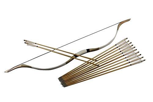 Junze arco e frecce adulti (1x arco+12x frecce) tiro con l'arco per adulti-40 Libbree set da arciere (Bianco)