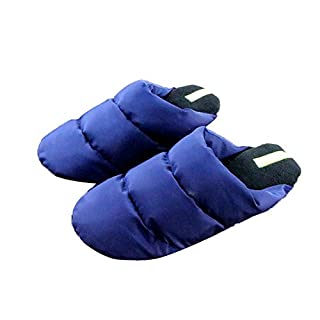 Alxcio Winter Warm Slipper Indoor Slipplers Lovers Flat Shoes Lightweight Soft Comfy Bedroom House Non Slip Down Footwear Foot Warmers for Adult Women Men, Blue/ UK Size 9-10