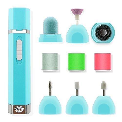 Funria Elektrische Nagelfeile Maniküre und Pediküre Set 9 in 1 Nagelbohrer Nagelpuffer Polierer Nagelpflege (Betrieben Maniküre-set Batterie)