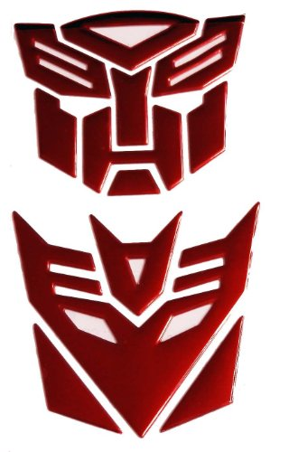 SKS Distribution® Transformers Autobot und Decepticon Rot 3D-Auto-Emblem-Abzeichen-Aufkleber Aufkleber