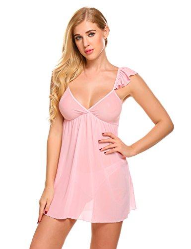 Scallop Damen Negligee Transparent Netz mit Tief V Nachtwäsche mit Slip Schlitz an der Rückenseite Babydoll Nachthemd Reizwäsche Sleepwear mit Volant