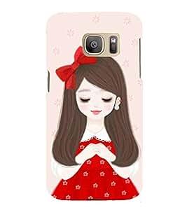 For Samsung Galaxy S7 Edge :: Samsung Galaxy S7 Edge Duos :: Samsung Galaxy S7 Edge G935F G935 G935FD cute girl ( nice girl, beautiful girl, flower, girl, cartoon ) Printed Designer Back Case Cover By Living Fill