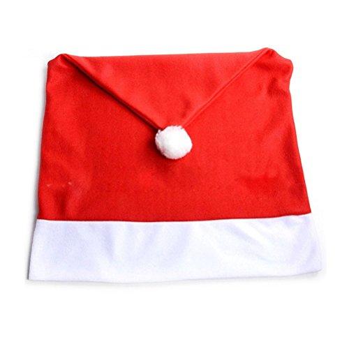 Pixnor Babbo Natale cappello rosso sedia indietro coprire decorazione festa di tavolo per la cena di Natale