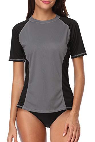 Sociala Short Sleeve Rash Guard-Schwimmen-Hemd mit V-Ausschnitt UPF 50+ Rashguard Top XX-Large Grau schwarz -