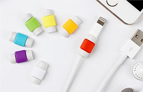 Techonto iPhone Cable Protector & Saver for Apple iPhone iPad Lightning USB Data Charging Cable 1 Set (2 Pieces) For Both The Ends Of Cable