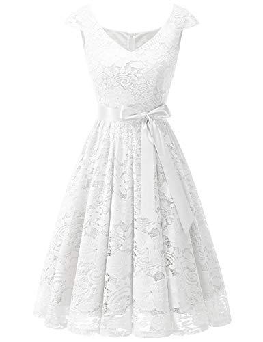 Meetjen Damen Elegant Spitzenkleid V-Ausschnitt festliches Cocktailkleid Abendkleider White L -
