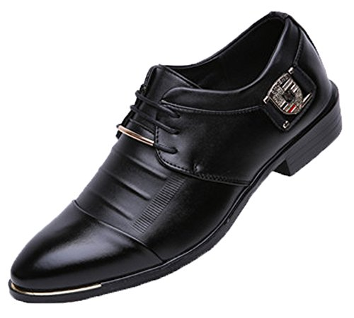 Anlarach Hommes Slip D'affaires Sur Les Chaussures Pointues D'été De Cuir Mental Chaussures Noir