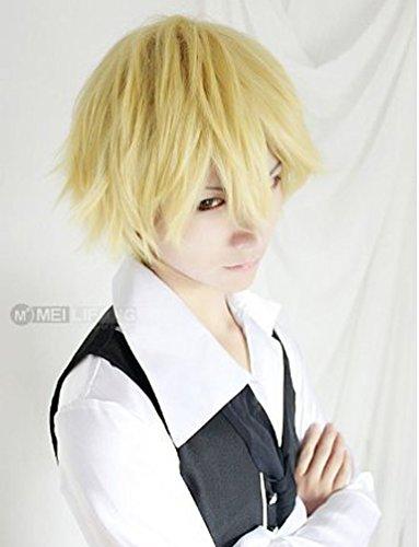 s Mens Jungen kurze glatte blonde Haar Party Hitzebeständige Cosplay Perücke (Anime Cosplay Für Jungen)