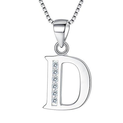 """Clearine Halskette Damen 925 Sterling Silber CZ 26 Buchstabe Alphabet Personalisiert A biz Z Anhänger Hals-Schmuck""""D"""""""