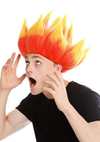 WIG ME UP - LM-19-PC13TPC2B Perücke Damen Herren Karneval hochtoupiert Dämon Teufel Troll Feuer Blume Rot Gelb