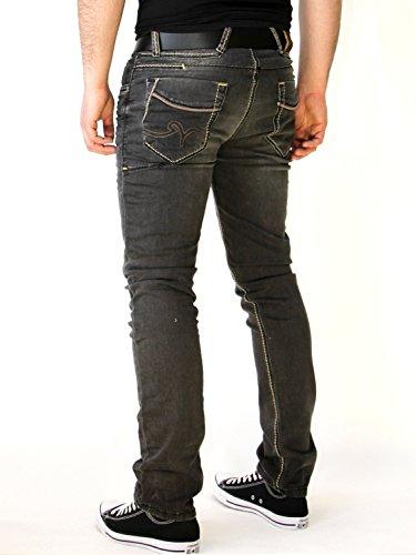 Rusty Neal Jogg-Jeans Herren Used Look Jogging Jeans Hose RN-7627-4 Schwarz Schwarz