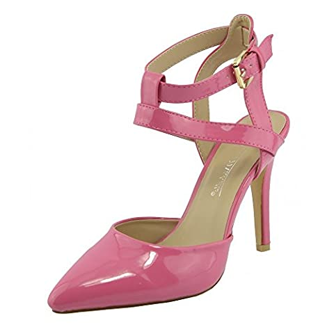 Kick Footwear - Womens ankle straps mid high heel patent ankle straps shoes - UK4 / EU37, Coral