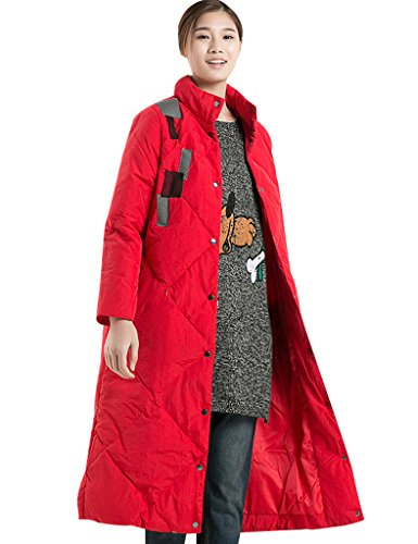 Youlee Femmes Hiver Supporter Collier Single-breasted Manteau Longue Manteau Rouge