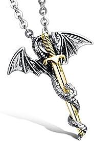 Yellow Chimes Sword Dragon Steel Pendant for Men (Golden, Silver Plating- Oxidized Silver) (YCSSPD-G937J-SL)