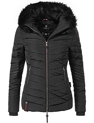 Marikoo Damen Winter Jacke Steppjacke Mamba (vegan hergestellt) Schwarz Gr. - Leder-pelz-jacke Schwarze