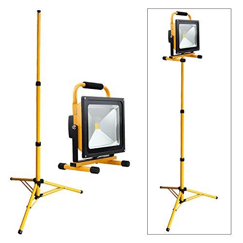 VINGO® 50W Kaltweiß LED Akku Fluter Handlampe Baustrahler Arbeitsleuchte Gelb mit Stativ