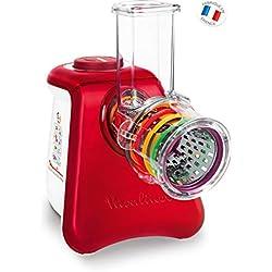Moulinex DJ812510 Découpe Légumes Électrique Fresh Express Max 5 en 1 Râper Fin Épais Trancher Gratter Fromage Mandoline Légumes Fruits Glace Pilée 260W Rouge
