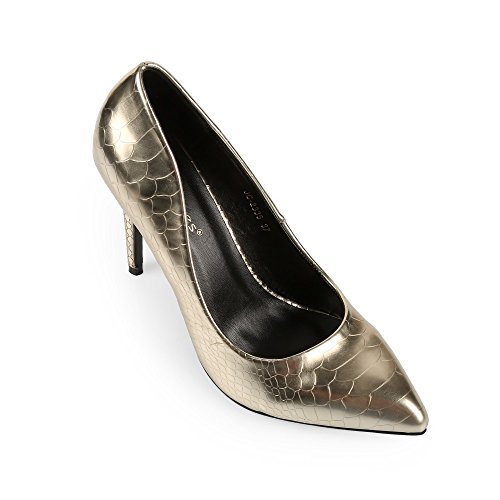 Ideal Shoes - Escarpins vernis effet reptile Henna Doree