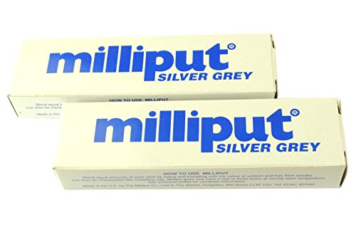 2-x-silver-grey-milliput-epoxy-putty-sculpting-modelling-ceramics-porcelain-free-uk-postage