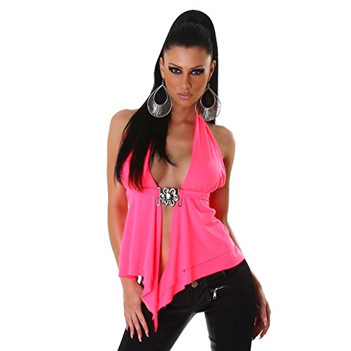 Damen Top Shirt Neckholder Bauchfrei Rückenfrei Bluse Ärmellos V-Ausschnitt 34 36 38 Pink