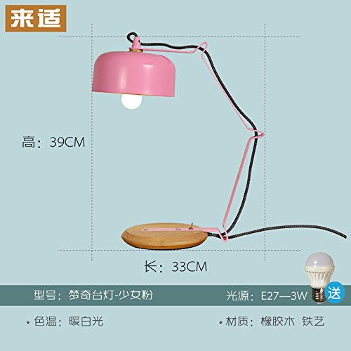 Moutoog Das Schlafzimmer Helles Holz Schreibtisch Kreative Persönlichkeit Der Modernen Minimalistischen Warmes Holz Lampe Nachttischlampe, Mädchen Pulver [Send3], Wled-Schalter Led