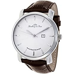 Lindberg & Sons - LS15S-A5 - wrist watch for men - quartz movement movement analog display - Swiss made - white dial - brown leather bracelet