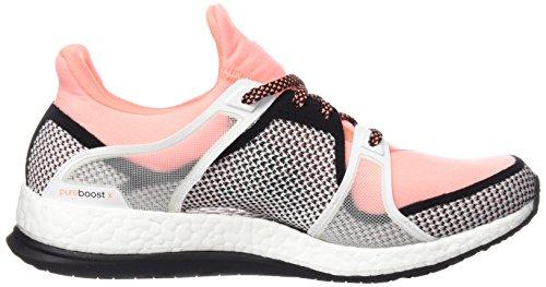 adidas Pure Boost X TR W, Chaussures de Running Entrainement Femme, Rose Noir / rouge / blanc (noir essentiel / rayon de soleil / blanc Footwear)