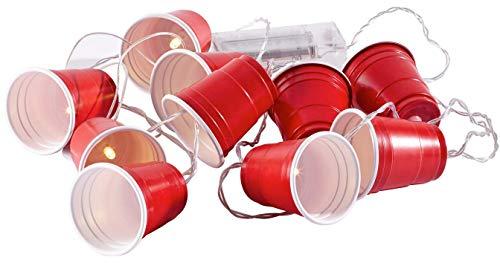 Beer-Pong Lichterkette | Für Party & Zocker- Feunde | 10er Spotlights im Becher | Rot - Batteriebetrieb
