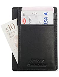 Wallet - RFID Blocking Ultimate Slim Travel Credit Card Holder by Apricoco | Minimalist Genuine Leather Front Pocket Organiser, 8 Slots for Credit Cards & Cash