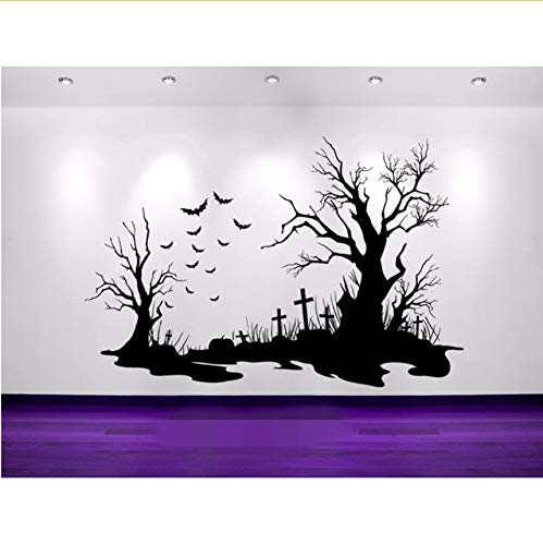en Cemetery Szene Fledermäuse Grabsteine   Silhouette Wall Art Aufkleber 29X44Cm ()