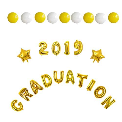 Amosfun 25pcs Abschlussfeier Dekoration Kit Abschlussballons 2019 Abschlussfolienballons Sterne Folienballons und runde Latexballons Abschlussfeierzubehör - Aluminium Banner