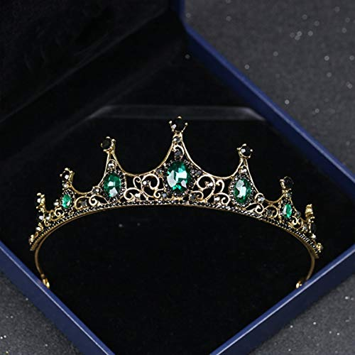 zeit Königin Kronen Braut Haarschmuck für Frauen Retro Strass Krone Braut Hochzeit Schmuck, grün, ()