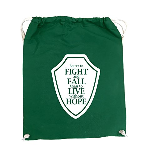 Comedy Bags - Better to fight and fall than to live wihtout hope - Turnbeutel - 37x46cm - Farbe: Schwarz / Pink Grün / Weiss