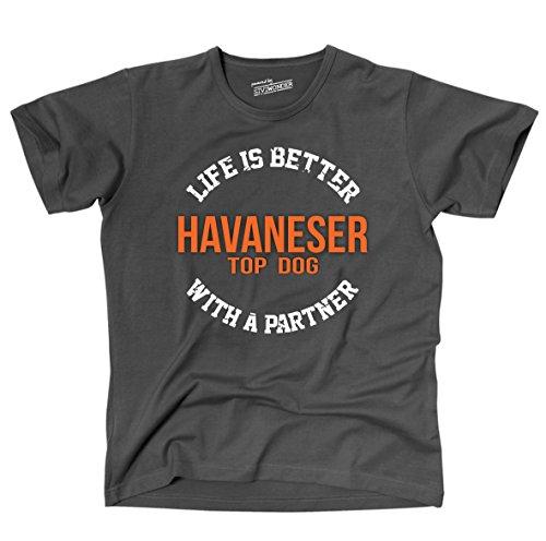 Siviwonder Unisex T-Shirt HAVANESER - LIFE IS BETTER PARTNER Hunde Dark Grey