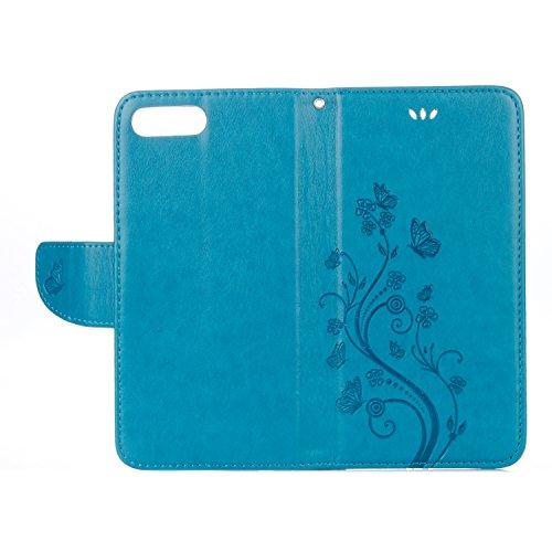 Cover Protettiva iphone 8 plus / 7 plus Plus, Alfort 2 in 1 Custodia in Pelle Verniciata Goffrata Farfalle e Fiori Alta qualità Cuoio Flip Stand Case per la Custodia iphone 8 plus / 7 plus Plus Ci son Blu