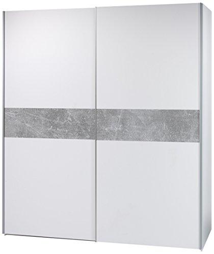 Stella Trading Victor 2-Türiger Kleiderschrank, Holz, Weiß / Abs. Grau (Beton), Breite ca. 170 cm