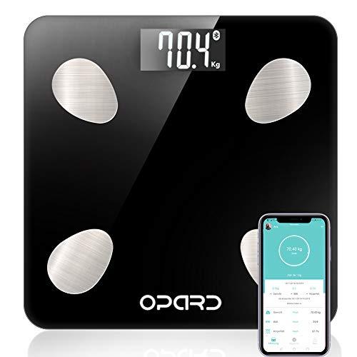 Opard Personenwaage mit Körperfett Körperfettwaage Bluetooth Waage Personen digital Körperwaage Digitalwaage Körperanalysewaage Gewichtswaage mit App (schwarz)