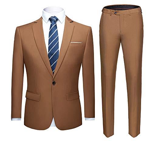 WULFUL Herren Anzug one Tasten Slim fit 2 stück Anzug Casual/formal/Hochzeit/Tuxedo klein Khaki -