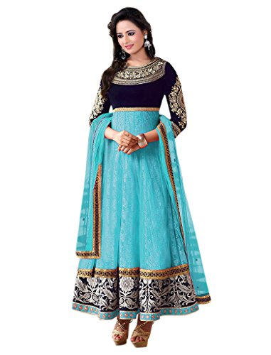 1 Stop Fashion Sky Blue & Blue Semi-Stitched Velvet & Net Salwar Suit  available at amazon for Rs.779