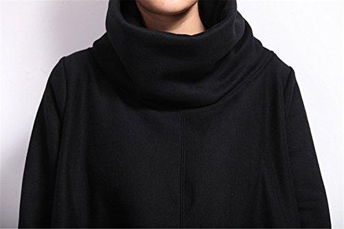 Très Chic Mailanda Damen Asymmetrisch Langarm Pullover Sweater Poncho mit Schalkragen S M Schwarz